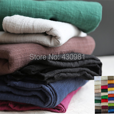 ethnic linen crepe fabric crinkled cotton sluby winkled material solid linen cotton crincled fabric for curtains scarfs dress(China (Mainland))