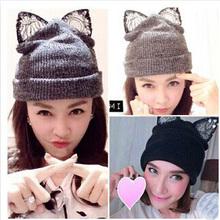 European Style  Trendy Lace Diamond Woman Hat Cute Cat Ears Knitted Beanies For Girls 3 Colors (China (Mainland))