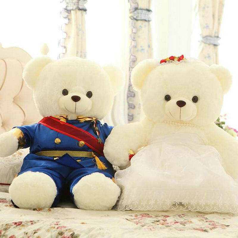 40/60cm High-quality wedding bear couples plush toys teddy bear doll 15cm or 20cm Wedding gift Bear Bride & Groom 2pcs/pair(China (Mainland))