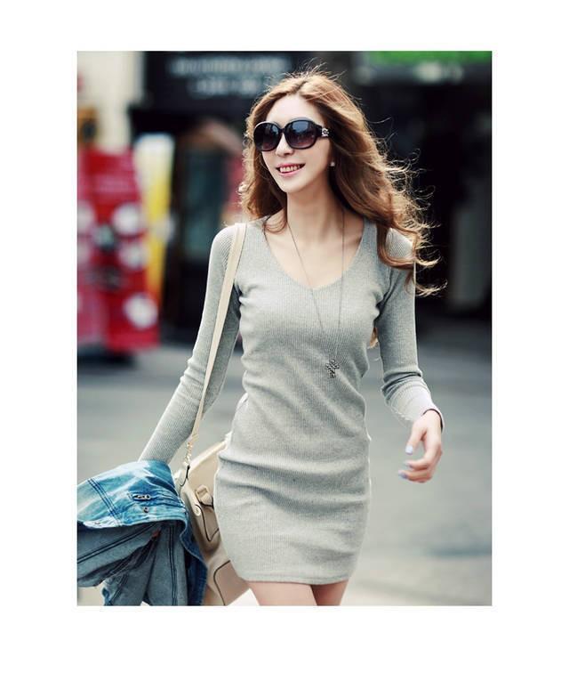 2016 Spring summer Europe US New Lady V Neck Long Sleeve Slim Package Hip Bodycon Dress Women WorkWear OL GRAY Dresses Vestidos