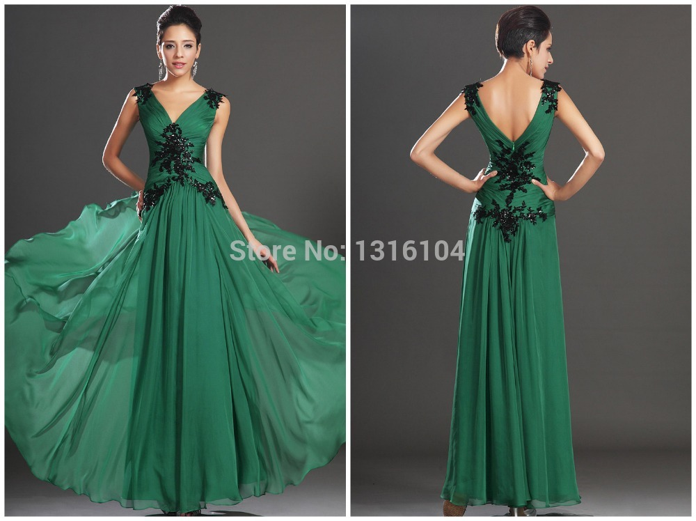 2014 Hot Inexpensive Fall Flowy New Years Party Dress Green Black V-neck Sleeves Ruched Chiffon Long Mature Women Evening Dress(China (Mainland))
