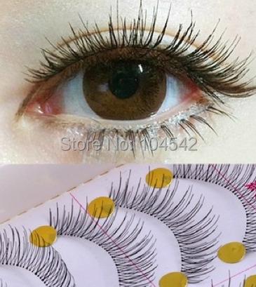1set/10 Pairs Handmade Fake False Eyelash Lashes Natural Transparent Stem Black Retail Box - william yeung's store china suppyler