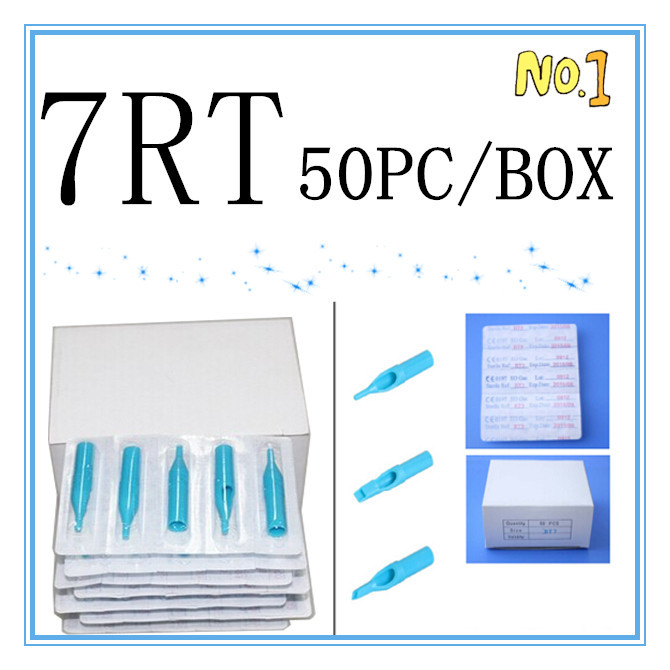 7RT Tattoo Tips 50pcs Blue Disposable Tattoo Tips 7RT High Quality Plastic Tips For Tattoo Machine Supplies Free Shipping