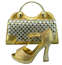 Women Shoe and Bag To Match for Parties Gold High Heel Shoe with The Rhinestones Bag Fashion Design Shoe with Matching Bag(China (Mainland))