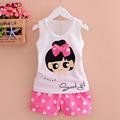 2016 New Toddler Girl Clothing Children Summer Clothes Lovely Cartoon Pattern Kids Girls Clothing Set Vest