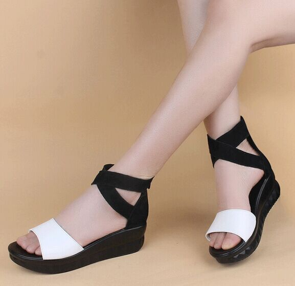 Free Shipping Beach Shoes Women Leather Sandals Summer Fashion Wedges Slides Size 35~41