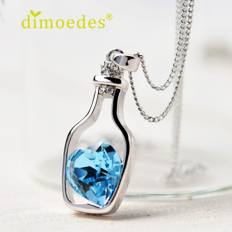 Creative Women Fashion Necklace Ladies Popular Style Love Drift Bottles Pendant Necklace Blue Heart Crystal Pendant Necklace(China (Mainland))