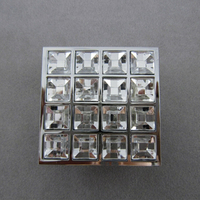 Square 16 Glass Diamond Furniture Kitchen Handles Knobs Cabinet Handle Door Knob Chrome Finished Dressers Drawer Pulls