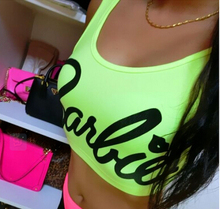 Sexy cropped tops for women party 2015 summer pink barbie crop top women sleeveless casual fitness tops letter t-shirt MT0397(China (Mainland))