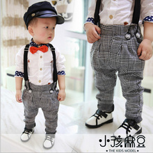Retail 2015 New Children spring clothes kids sport belt trousers high quality plaid trousers baby boy