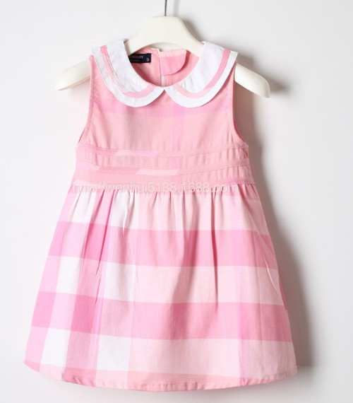 baby toddler Cotton plaid dresses summer casual girls sleeveless dress party hot selling birthday - shuang wang's store