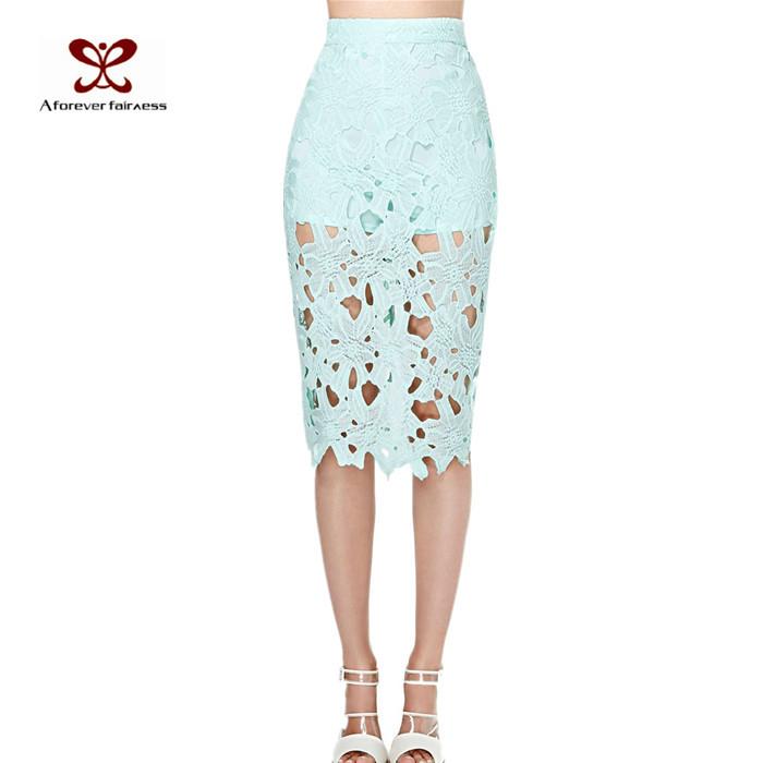 Cool mint green embroidery cutout lining midi skirt sexy bust skirt haoduoyi(China (Mainland))
