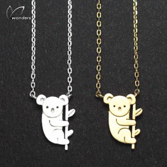 30pcs/lot Cute Animal Pendants Gold/Silver Stainless Steel Dainty Australian Tiny Koala Bear Charm Necklace Teens Gift