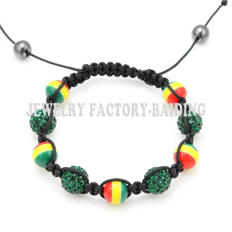 Ручной акриловые браслет красный желтый зеленый раста шамбалы браслет