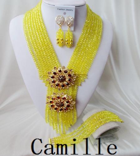 Fashion Nigerian African Wedding Beads Jewelry Set , Crystal Necklace Bracelet Earring Women Fashion Jewelry Free Shipping C-970<br><br>Aliexpress