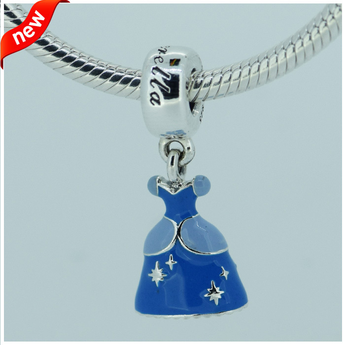 Compatible with Pandora Bracelet Jewelry 925 Sterling Silver Beads Cinderella Dress Silver Dangle With Blue Enamel Fashion Charm(China (Mainland))