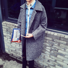 Male fashion casual personality vintage loose wool long outerwear coat design(China (Mainland))