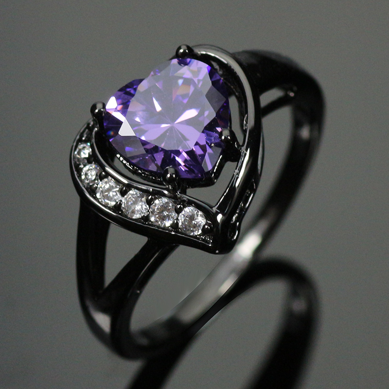 Hot Sale Black Gold Filled AAA Cubic Zirconia Rings Fine Jewelry For Women Wholesale Wedding Rings BR010Purple(China (Mainland))