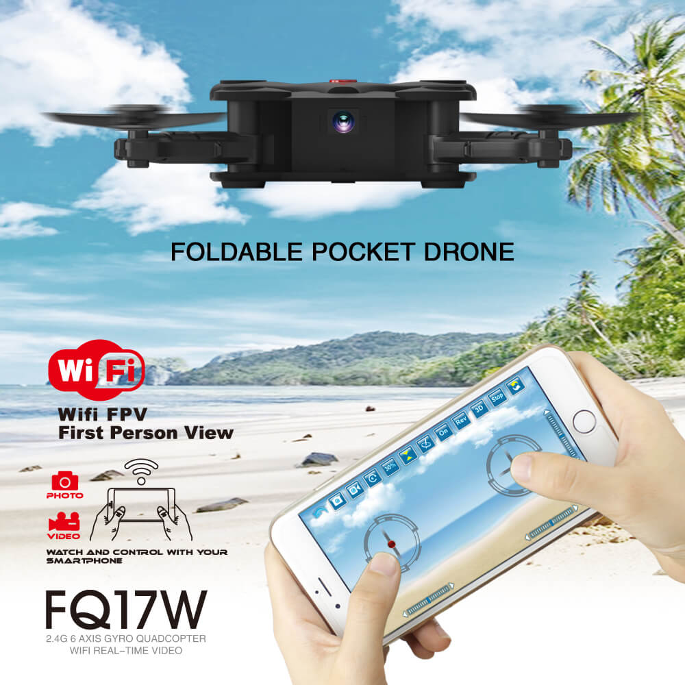 FQ777 FQ17W WIFI FPV Foldable Pocket Drone With 0.3MP Camera Altitude Hold Mode LED Headless RC Quacopter RTF Mini Toy F20373/5