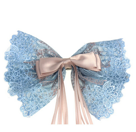 Hair Accessories Headwear Big Lace Bow Hair Clip For Women Ladies Girls Perfect Gift for Christmas F15508(China (Mainland))