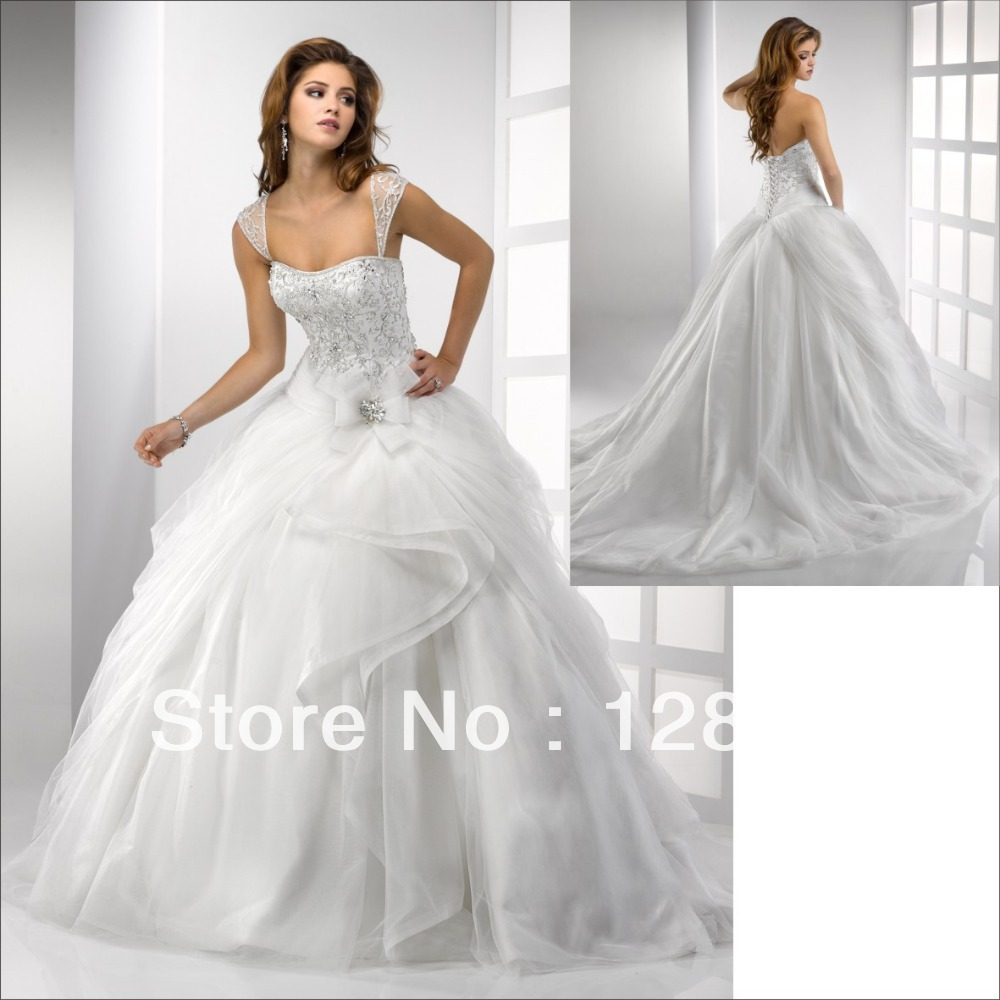 2015the cap sleeve silver embroidery ball gown bridal for Silver ball gown wedding dresses