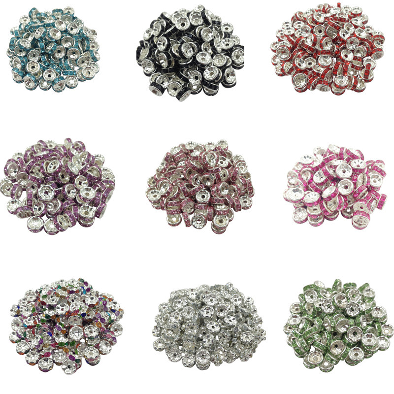 New! 5AAA+ Quality 50 piece/lot Cheap Handmade Rhinestone Loose Crystal Silver Plated Rondelle Spacer Beads Free Shipping(China (Mainland))