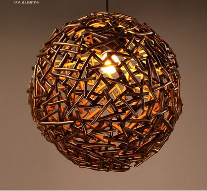 The ancient chandelier study the living room coffee bar counter spherical creative hand woven tree l personality pendant lights.<br><br>Aliexpress