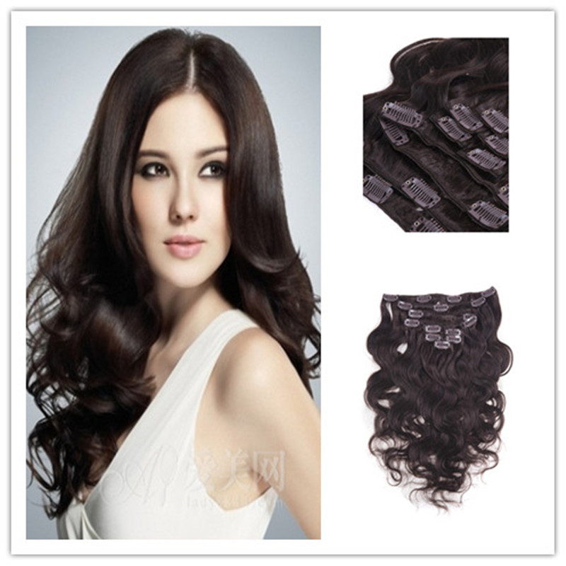 Remy Virgin Brazilian Hair Clip In Extensions 120G Clip In Brazilian Hair Extensions 1B Black Body Wave Clip In Hair Extensions<br><br>Aliexpress