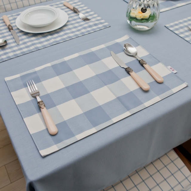 Mediterranean blue plaid tablecloth table mat gray double cloth table runner coaster customized meal(China (Mainland))