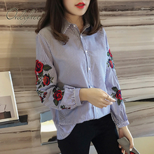 Buy Ordifree 2017 Casual Loose Blouse Flower Embroidered Female Shirt Plus Size XXL XXXL 4XL Floral Embroidery Women Striped Shirt for $14.43 in AliExpress store