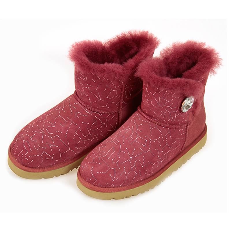 Women Snow Boots Mini Crystal Button Natural Fur Warm Winter Boots Women's Fashion Ankle Boots Women Boots 100% Wool Inside Hot(China (Mainland))