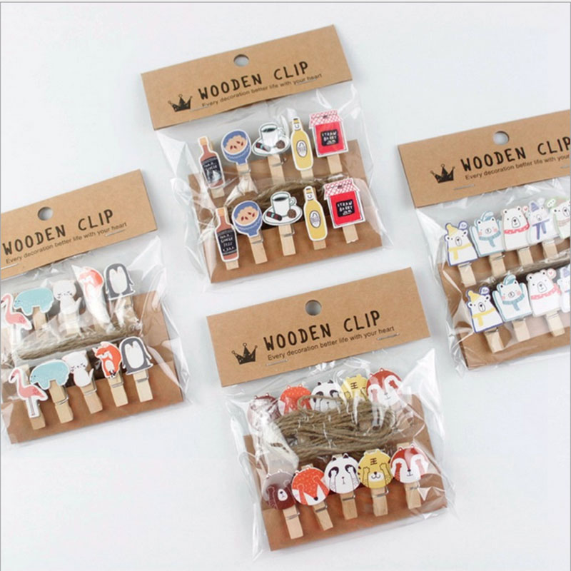 10 pcs/lot Kawaii cartoon animals Wood Clip Photo paper Clothespin Craft Clips Party decoration Clip with Hemp Rope(China (Mainland))