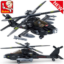 Sluban B0511 Air plane Black AH-64 Utility Helicopter 3D Construction Plastic Model Building Blocks Bricks Compatible With Legoe
