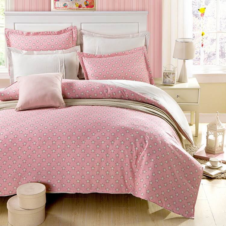 2015 Brand New Summer Style Pink Stars 100% Cotton Duvet Cover Bedding Set MIFE Home Textile(China (Mainland))