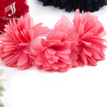 2Pcs/lot Chiffon Flowers Children Baby Girls Hair Accessories Rubber Bands Barrettes Girl Headwear Bow A-002