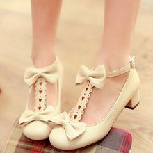 New 2015 Spring Clinched Thick Heel Cutout Laciness Bow Lolita Sweet Shoes Low Heeled Woman Lady Pumps Square Heel Party Shoes