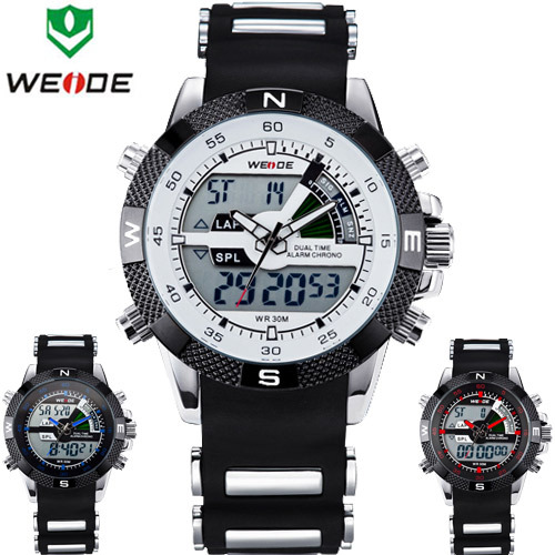 Top Brand WEIDE Sport Watch Men Quartz Analog LED Display Alarm Clock Waterproof watch Luxury Relogio Masculino pulsometro(China (Mainland))