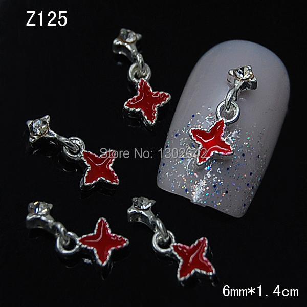 Z125 10pcs/lot Red Star Chain Rule Glitters Nails Art Tips Fashion Jewelry Nail China Supplier(China (Mainland))