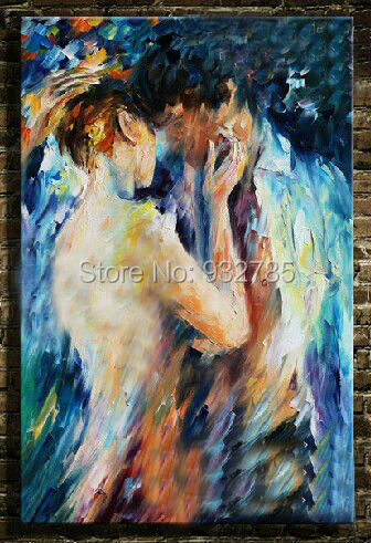 Handmade Modern Nude oil painting canvas Abstract Thick Knife Lovers Sex & Love Art Home Hotel Bar wall art decoration(China (Mainland))