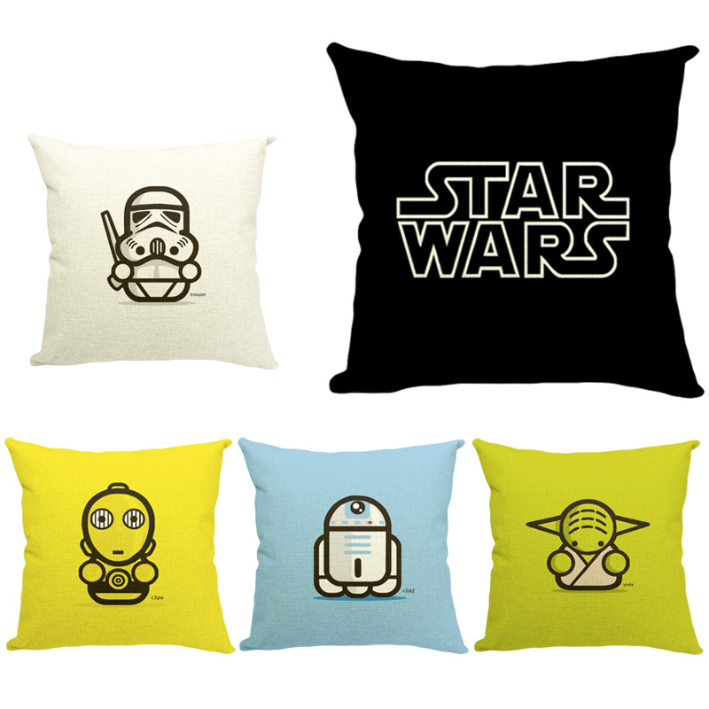 45cm Star Wars Yoda and Darth Fashion Cotton Linen Fabric Pillow Hot Sale 18 Inch New Home Decor Sofa Car Cushion Office Nap HL