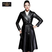 2016 New Fashion Autumn Winter Women Brand Faux Soft Leather Jackets Pu Black Button Long Sleeve Motorcycle Coat Plus Size S-XL(China (Mainland))