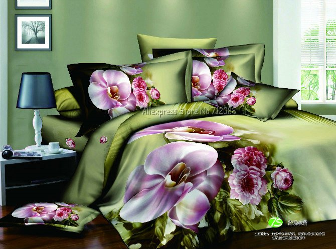 Wholesale,4pc bedlinen pink flower blossom pattern prints green duvet quilt covers sets 4pc Full/Queen comforter bedding sets(China (Mainland))