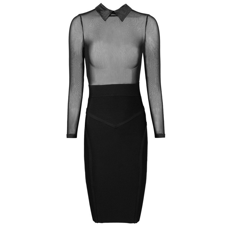 Free Shipping New 2015 Womens Hot Sexy Black See Through Mesh Long Sleeve Bandage Party Dresses Club WearОдежда и ак�е��уары<br><br><br>Aliexpress