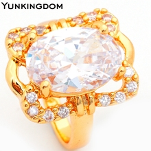 Yunkingdom Big White Cubic Zirconia Oval Style Rings 18k Gold Filled Womens Rings Fashionable Jewelry ALP0168