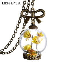 Glass Dry Flower Necklace Real Flower Bottle Pendant Necklace Bronze Chain Necklace For Women Jewelry Fashion 2016(China (Mainland))