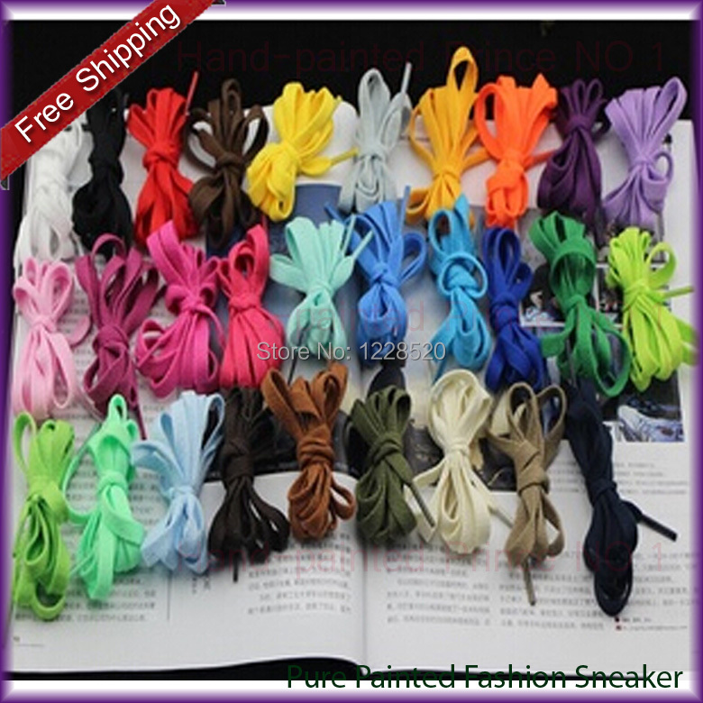 10 Pairs/Lot 57 Colors Length 1.6 m Width 0.8CM Outdoor Color Flat Women's Men Sneaker Shoe Lace Flat Dacron Shoelaces(China (Mainland))