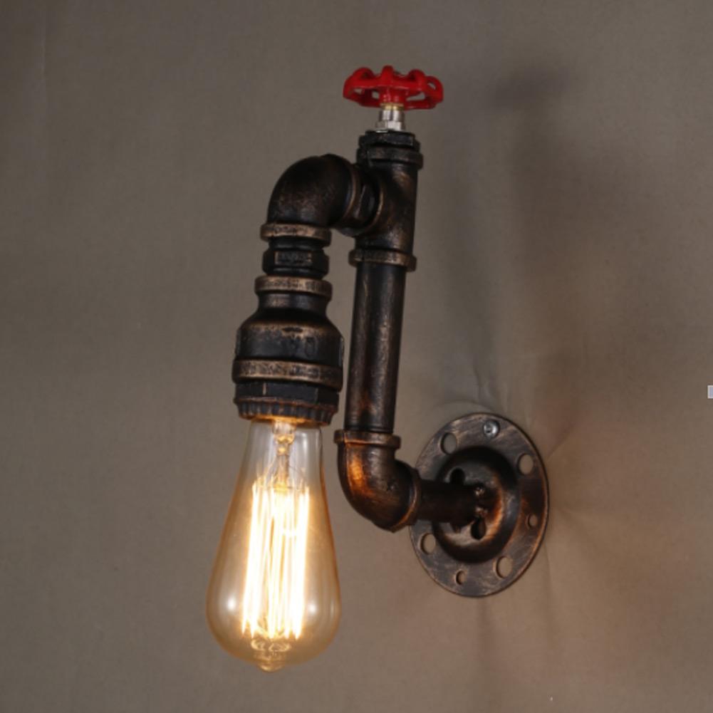 Купить Ретро Промышленного Чердак Бра для Бар Домой Через Декор E27 Железная Труба Форма Американский Старинные Настенные Светильники Бесплатная Доставка