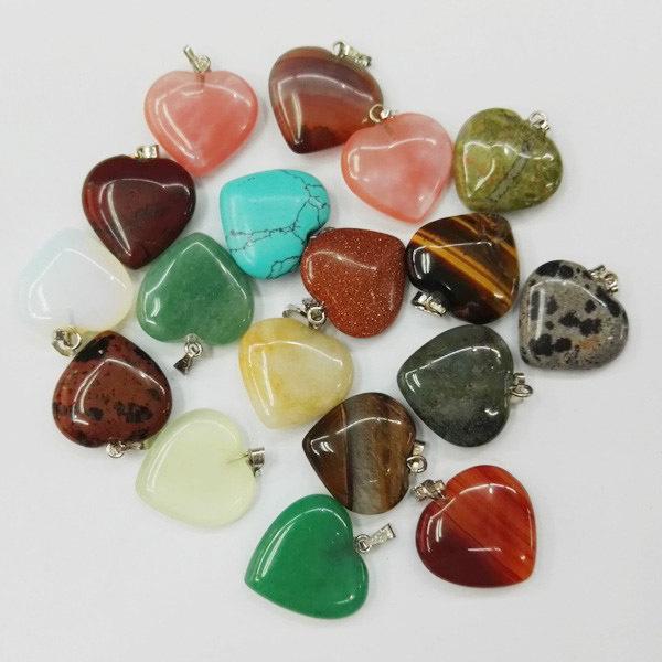 wholesale natural stone heart pendants stone charms opal Tiger eye Love heart pendants for jewelry making 20mm 12Pcs/lot free(China (Mainland))