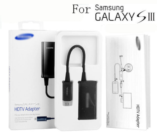 Brand NEW Micro USB MHL to HDMI HDTV Adapter Cable Converter For Samsung Galaxy S 3 III i9300 Note 2 II N7100 Free Shipping(China (Mainland))