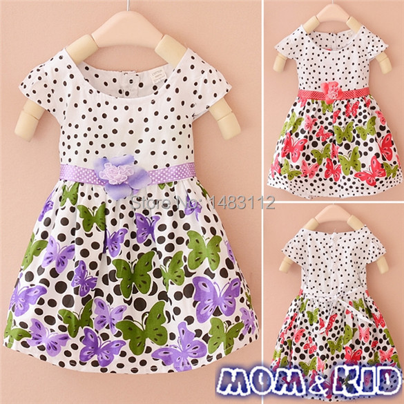 2014 New children's summer clothing girls dress on the idea of two flower Dot Butterfly girls Princess dresses 7#(China (Mainland))